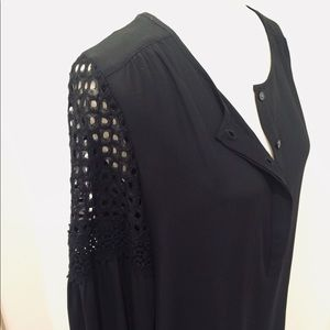 LOFT Laced/Crocheted Black Long Sleeve Blouse Top